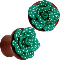 "9/16"" Handcrafted Rosewood Speckled Green Succulent Saddle Plug Set"