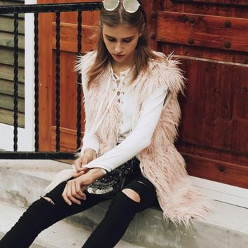 Fur Vest Winter Women Luxury Faux Fox Fur Vest Furry Slim Women's Fake Fur Vest Plus Size Long Waistcoat Casual Outwear Vest