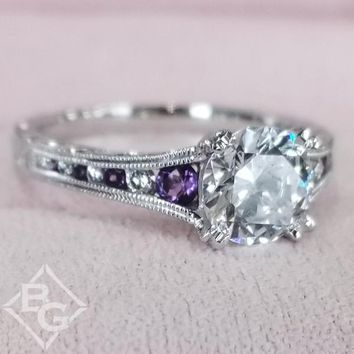 "Kirk Kara ""Stella"" Purple Amethyst Diamond Engagement Ring"