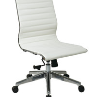 OSP Furniture® Armless Mid Back White Bonded Leather Chair