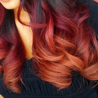 "18"" #1B Ginger Kick 100% Human Hair Ombre clip Extensions crimson Red Orange Ginger"