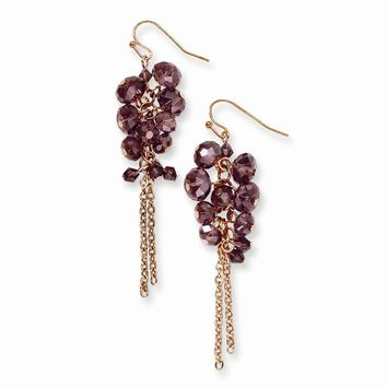 Brass-tone Purple Crystal Cluster Dangle Earrings