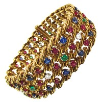 1960s Boucheron Paris Ruby Sapphire Emerald Diamond Gold Bracelet