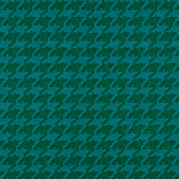 Teal Houndstooth Fabric - Modern Teal Upholstery Yardage