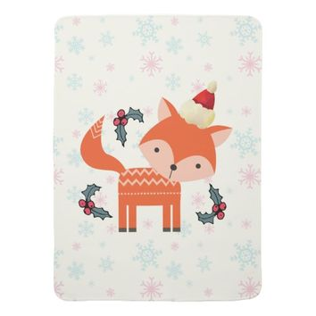 Orange Fox In Santa Hat Cute Whimsical Christmas Receiving Blanket
