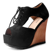 Black Woolen Lace up 115mm Wedges - Sheinside.com