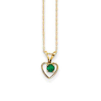 3mm Emerald Birthstone 14k Yellow Gold Heart Necklace - 15 Inch