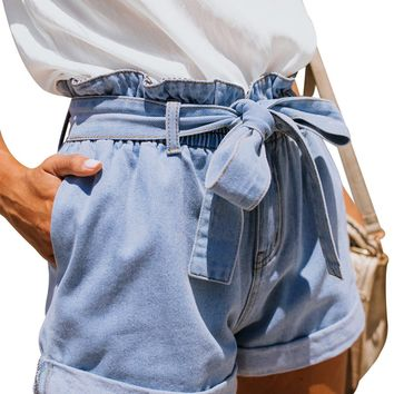 Women Light Blue Roll Hem Paper Bag Waist Denim Shorts