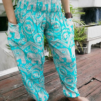 Turquoise Elephant Boho Yoga Pants Style Aladdin Printed Casual Beach Hippie Massage Rayon pants Gypsy Thai Batik Men Tribal Plus Size Tank