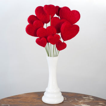 Valentine's Day Heart Flower Bouquet with Vintage by meghanica