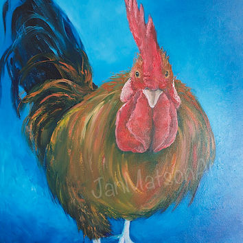Rooster Painting, kithen wall decor, canvas art, animal paintings,kitchen painting, country kitchen art,cafe art,rustic home decor,Etsy art