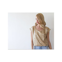 Glamorous sequin gold top , Gold sequin blouse, Sparkling shirt