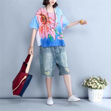 Yesno BX1 Women Loose Tops Blouse Shirt Casual 100% Linen Handcraft Oil Painted Summer Beach