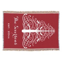 Personalized White Christmas Tree on Red Throw