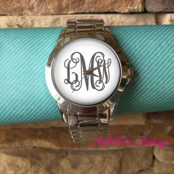 Monogrammed Boyfriend Watch, Personalized Boyfriend Watch, Customizable Boyfriend Watch, Gifts for Her, Gifts for Him, Unisex Gifts
