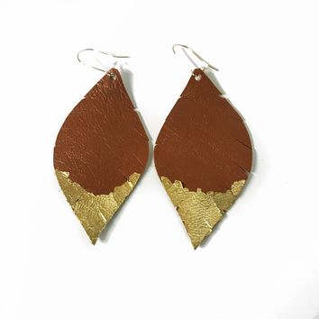 Three Little Indians Earrings - Small Brown | Gold Leaf