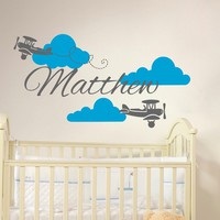 Plane Name Wall Decal Clouds Vinyl Sticker Personalized Custom Name Biplane Decals Airplane Kids Baby Name Boys Nursery Room Decor Art x88