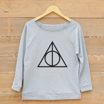 Deathly hallows shirt tumblr graphic tees hipster fashion quote sweatshirt women off shoulder sweatshirt slouchy jumper women sweatshirt