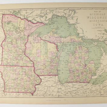 Best Vintage Michigan Map Products On Wanelo - Vintage iowa map