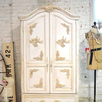 Painted Cottage Chic Shabby Romantic Armoire AM171
