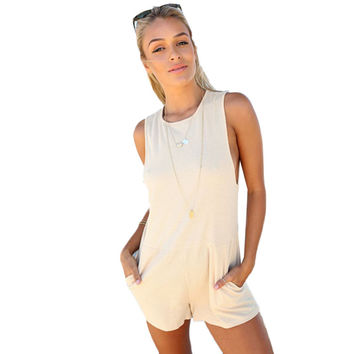 Women Fashion Pocket Rompers Jumpsuits