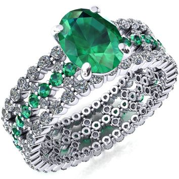 Lacy Oval Emerald Full Eternity Emerald and Diamond Accent Ring
