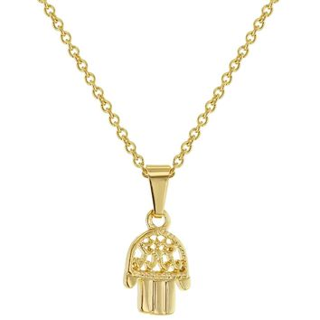 """18k Gold Plated Hamsa Hand Charm Pendant Necklace for Ladies 19"""""""