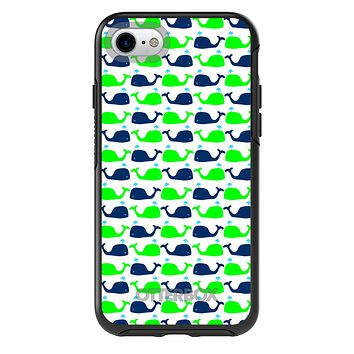 DistinctInk™ OtterBox Symmetry Series Case for Apple iPhone / Samsung Galaxy / Google Pixel - Green Navy Cartoon Whales