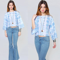 Vintage 70s EMBROIDERED Crop Top Baby Blue Ethnic Boho Top BELL SLEEVE Festival Short Top