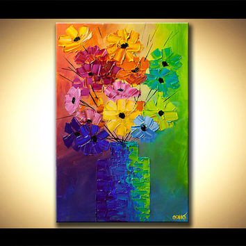 "Palette Knife Colorful Blooms Impasto Floral Acrylic Painting by Osnat 40"" x 30"" - MADE-TO-ORDER"