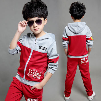 New Autumn Children's Clothing Sets Kids Boy Zipper Clothes Set Child Sport Suits Big Girl & Boy Tops + Pants Letters Sets