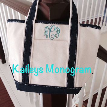 Monogrammed Canvas Tote Bag Boat Tote Diaper Bag Personalized Gift Bridal Party Bridesmaid Preppy Kaileys Monogram Kaileysmonogram