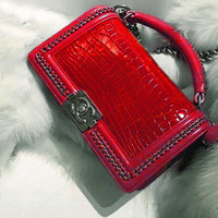 CHANEL More Chain Square Type Women Shopping Leather Metal Chain Crossbody Shoulder Bag Satchel Handbag B Red