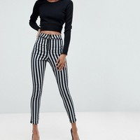 ASOS RIVINGTON High Waist Denim Jeggings with Exposed Zips in Stripe at asos.com