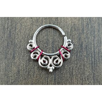 Silver Ornate Daith Rook Cartilage Hoop