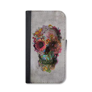 Floral Skull Wallet Case. Choose Samsung Galaxy S3, S4 or S5.