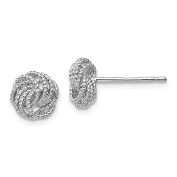 8mm (5/16 Inch) 14k White Gold Textured Love Knot Stud Earrings
