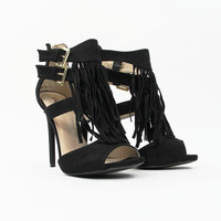 Fringe Frenzy Heels in Black
