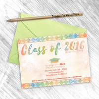 Watercolor Graduation Invitation, Printable Graduation Party Invite Class of 2016, Digital Graduation Cap Invite Green Blue Geometric Invite