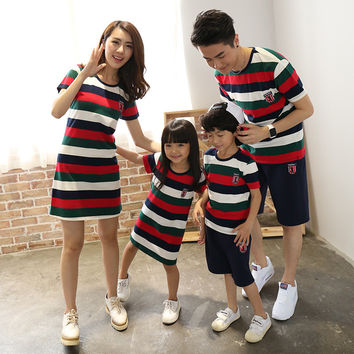 Mom And Daughter T-shirts dress Daughter Clothes New Real Family Look Girl Children Trendy Fashion striped t Shirt