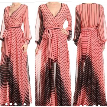 Fabulous Pink and Black Ombré Striped Gown/ Maxi Dress