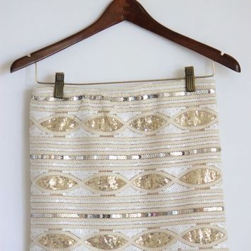 White and Gold Sequin Skirt - Mickey's Girl