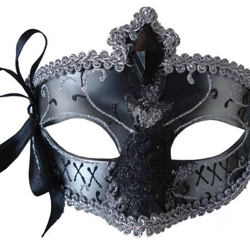 Mardi Gras Eye Mask Silver Black 2017