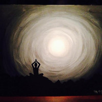 17x13 Acrylic and Indian Ink Yoga Meditation Painting titled Solitude