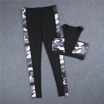 Women Fitness Leggins Suit Camouflage legging Pants For Women+ Fitness Bra Tops Pendientes Mujer#A12 SM6