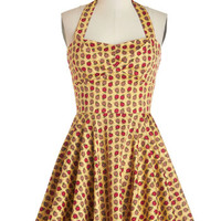 Halter Fit & Flare Traveling Cupcake Dress in Apples