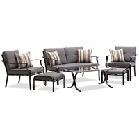 6-piece Outdoor Patio Furniture Set with Cushions and Throw Pillows