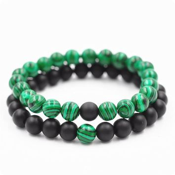 Malachite Frosted Distance Bracelet Set Charms Round Beads Elastic Couple Bracelet For Women Men Meditation Jewelry Bijoux