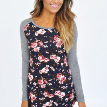 Grey/Navy Floral Front Long Sleeve