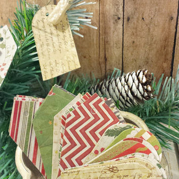 30 Holiday Gift Tags in Heirloom Vintage Style Scrapbook Paper, Crafts, Product Labels, Christmas Gifts, Holiday Patterns, Two Sizes of Tags